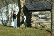 Actor Mark Bowe talking with the Director of Barnwood builders